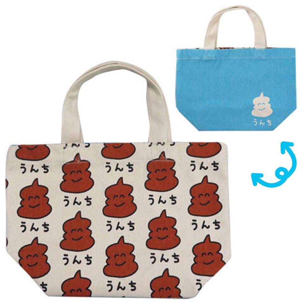 日本 OKUTANI - 童趣插畫純棉手提袋-便便-水藍 (29x20cm)