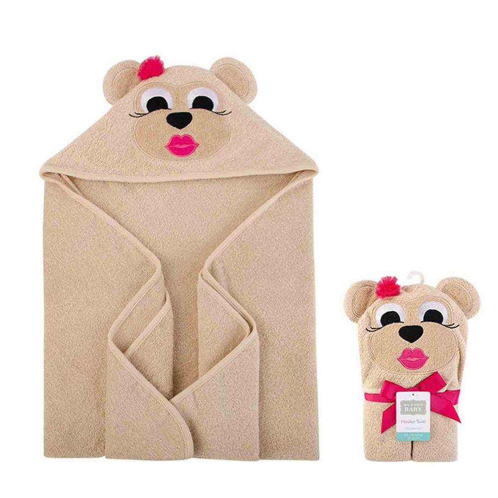 美國 Luvable Friends - 嬰幼兒動物造型100%純棉連帽浴巾/包巾-高雅棕熊