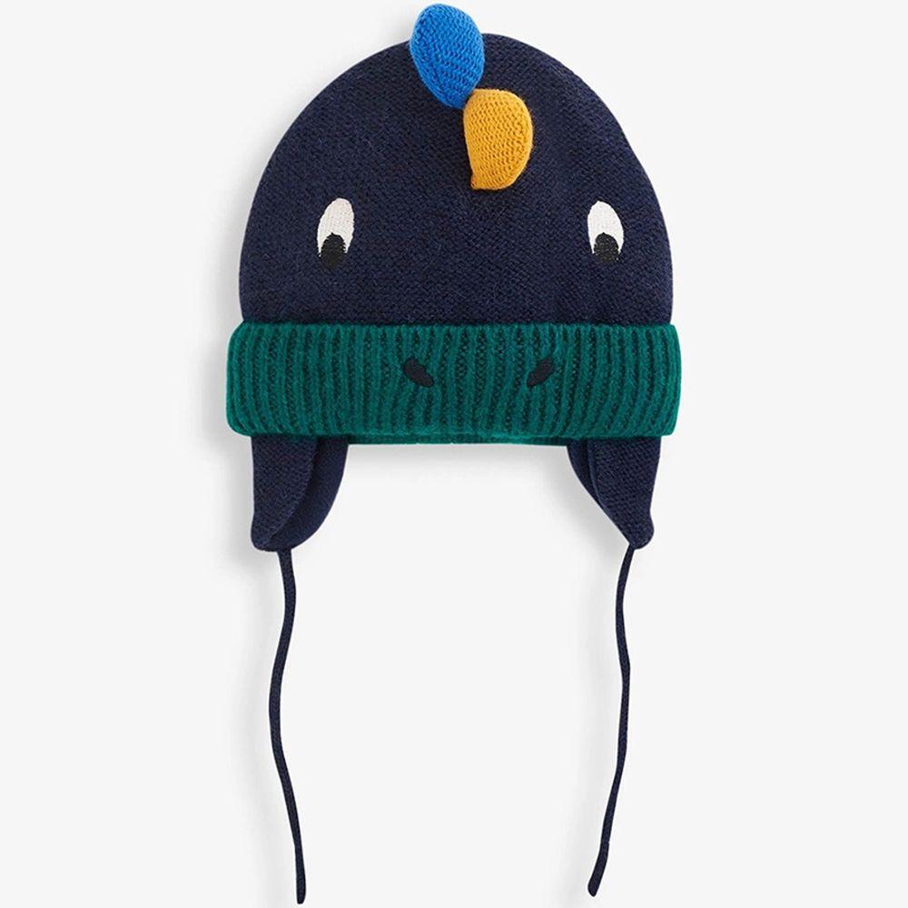 英國 JoJo Maman BeBe - 保暖舒適羊毛帽-海軍藍恐龍