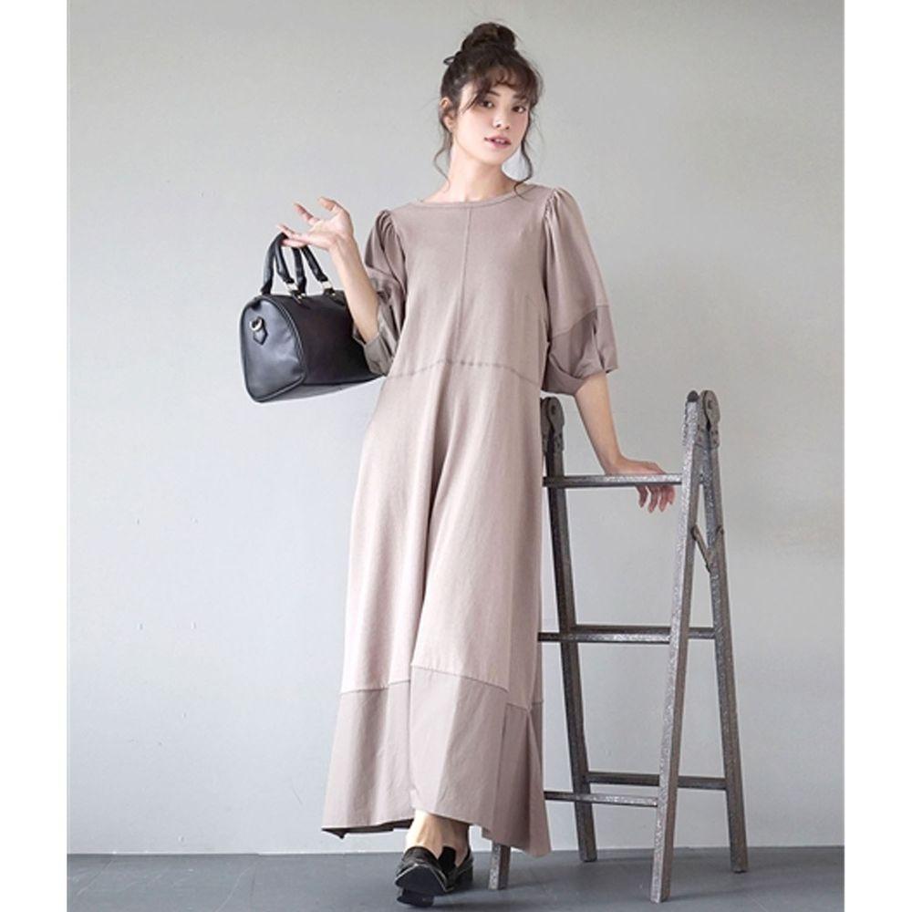 日本 zootie - 層次漸層設計感後蝴蝶結五分袖長洋裝-摩卡