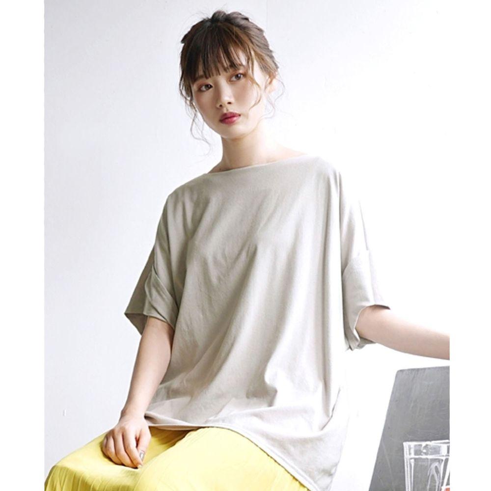 日本 zootie - Design+ 顯瘦立體感剪裁落肩五分袖上衣-灰杏