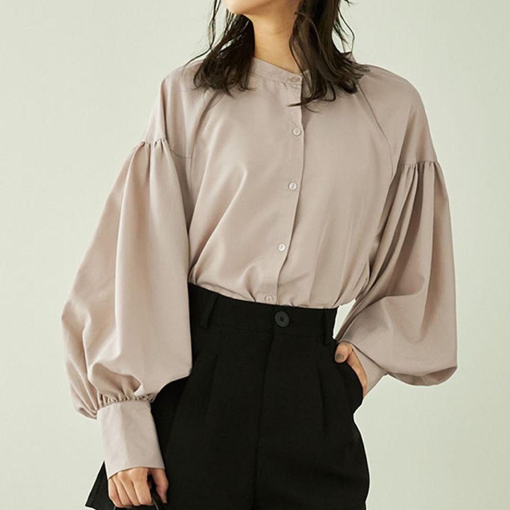日本 GRL - 落肩顯瘦大澎袖束口長袖襯衫-杏