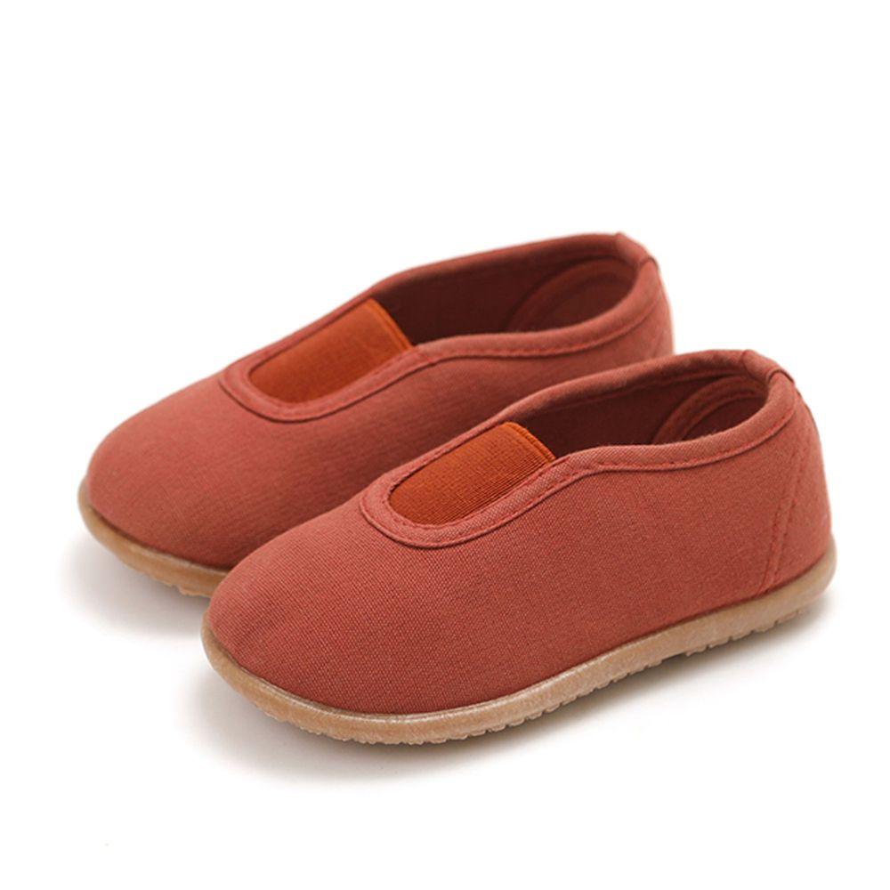 韓國 OZKIZ - 純棉透氣兒童休閒鞋/室內鞋-咖啡