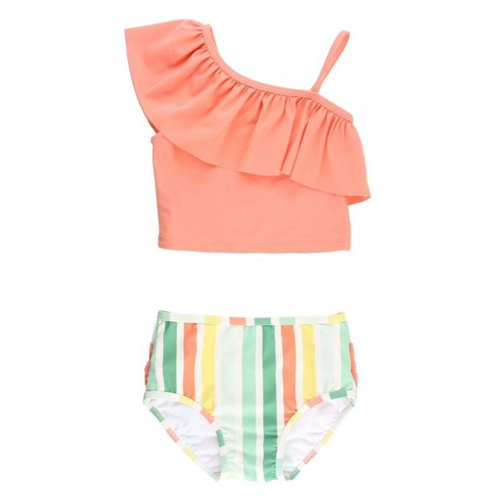 美國 RuffleButts - 小女童UPF 50+防曬兩件式無袖泳裝-橘色軟糖