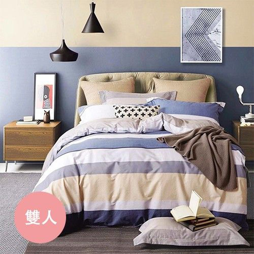 PureOne - 極致純棉寢具組-紳士之約-雙人三件式床包組
