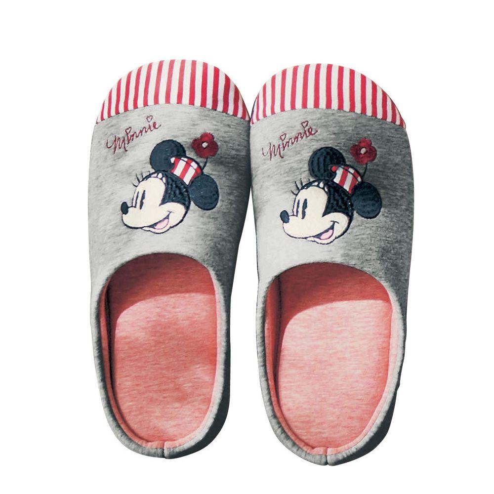 日本千趣會 - 迪士尼室內拖鞋(低反發)-米妮大頭-灰X紅條紋