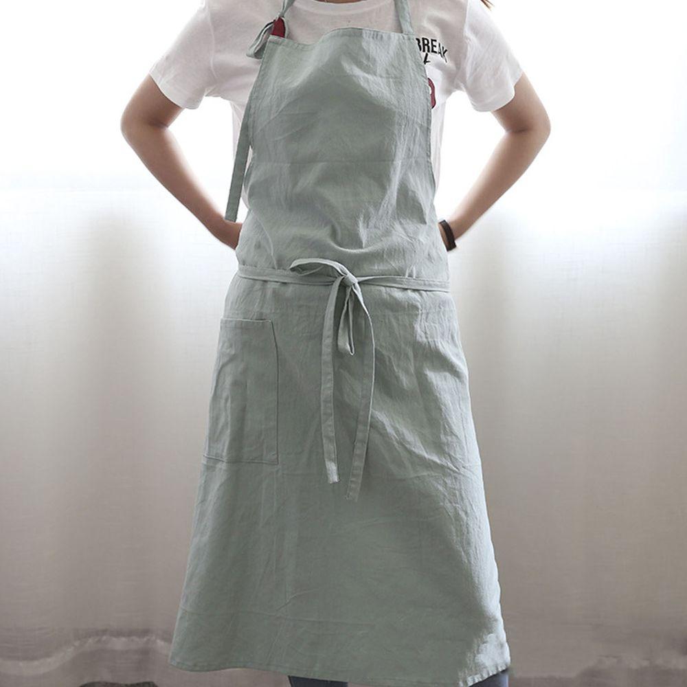 率性扣帶水洗棉麻圍裙-淺綠色