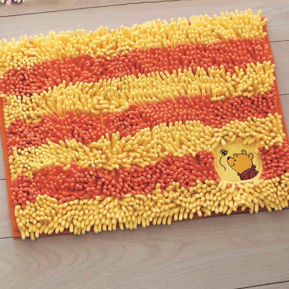 日本千趣會 - 迪士尼 吸水腳踏墊(橫條紋)-維尼-黃橘