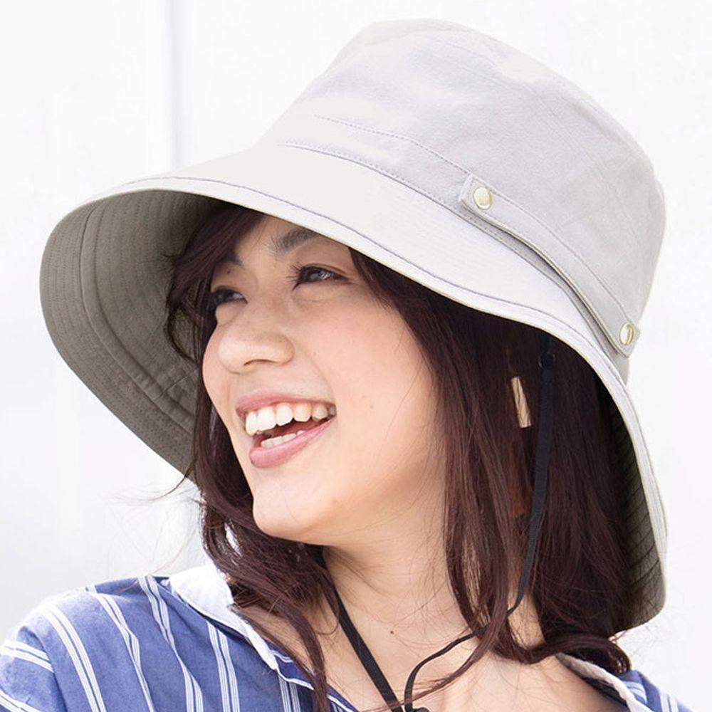 日本服飾代購 - 【irodori】抗UV可捲收遮陽帽(附防風帽帶)-淺灰-純棉