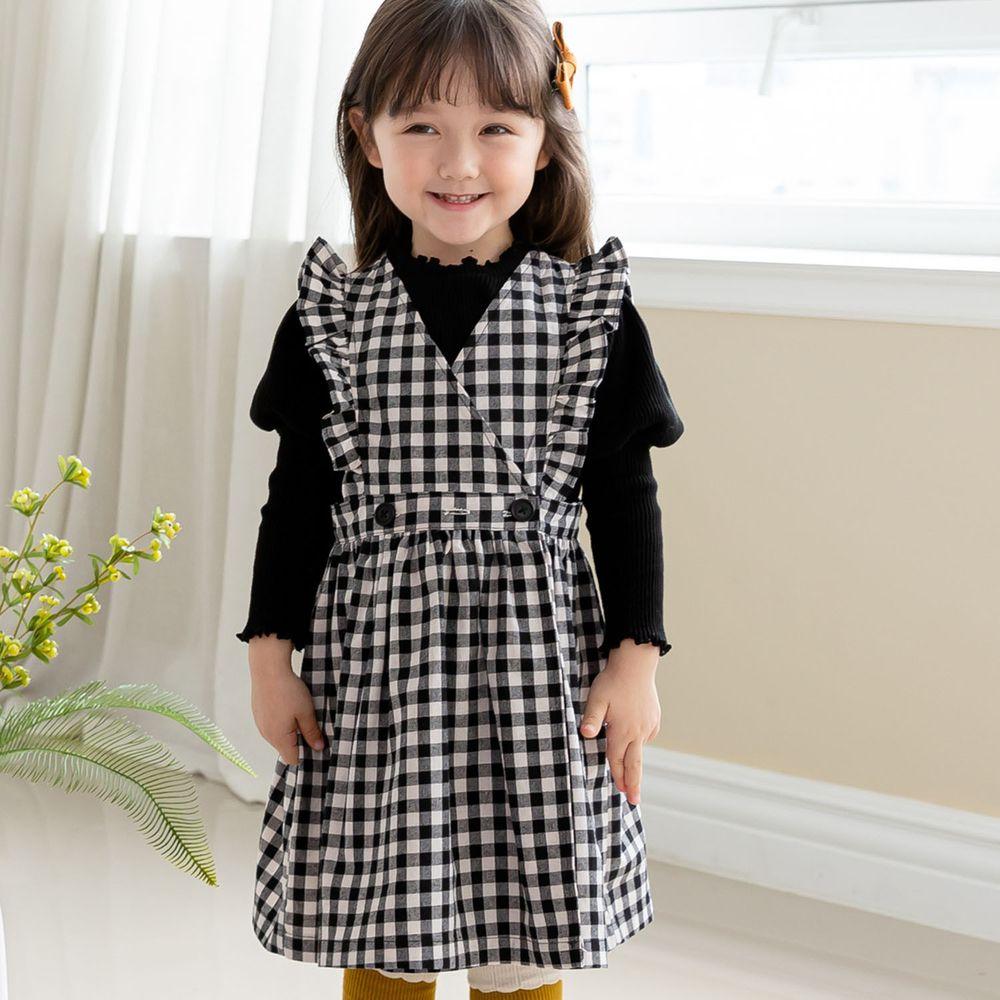 韓國 ERU - 公主袖針織羅紋上衣-黑