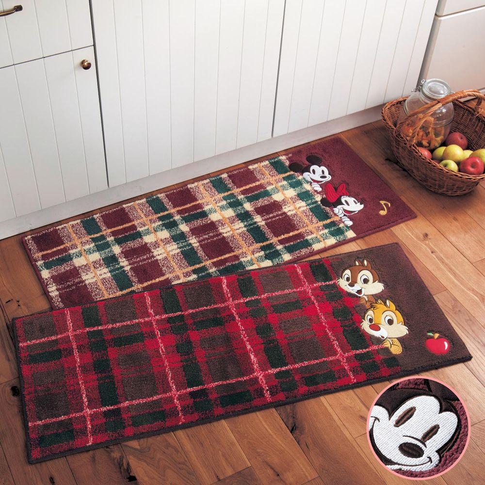 日本千趣會 - 迪士尼 長毛長條型腳踏墊(廚房/臥室)-格紋米奇米妮