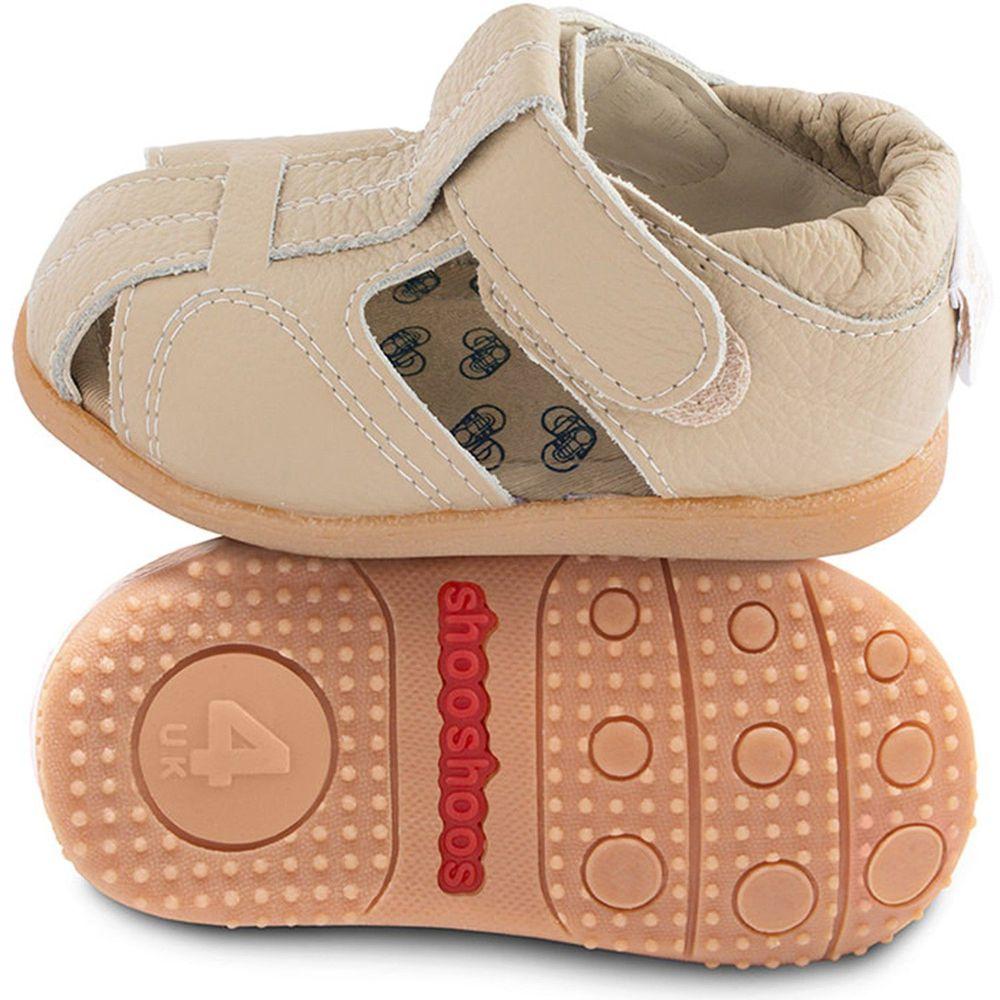 英國 shooshoos - 健康無毒真皮手工涼鞋/童鞋-米色涼鞋