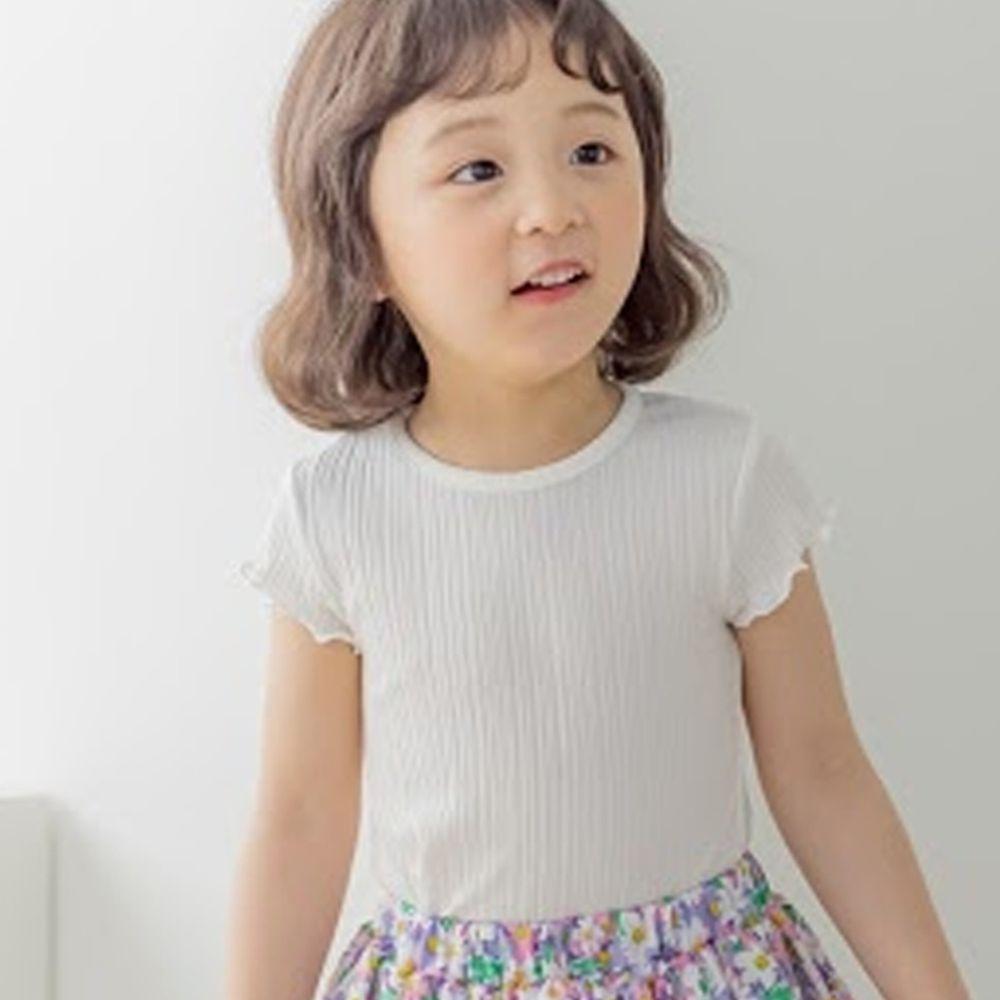 韓國 Orange Mom - 捲邊皺摺感彈性上衣-白
