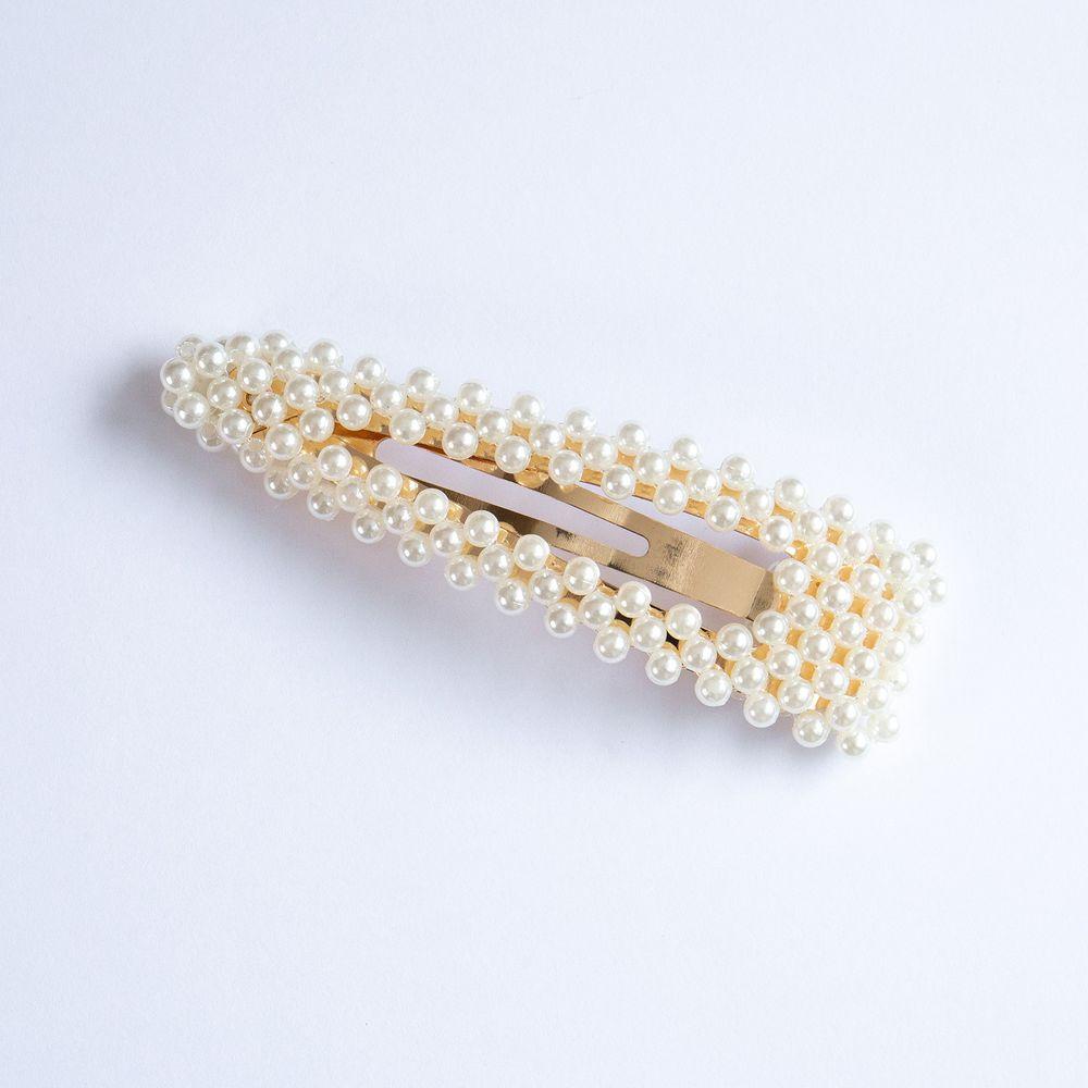 優雅氣質珍珠髮夾-水滴BB夾-金色 (長約9cm)