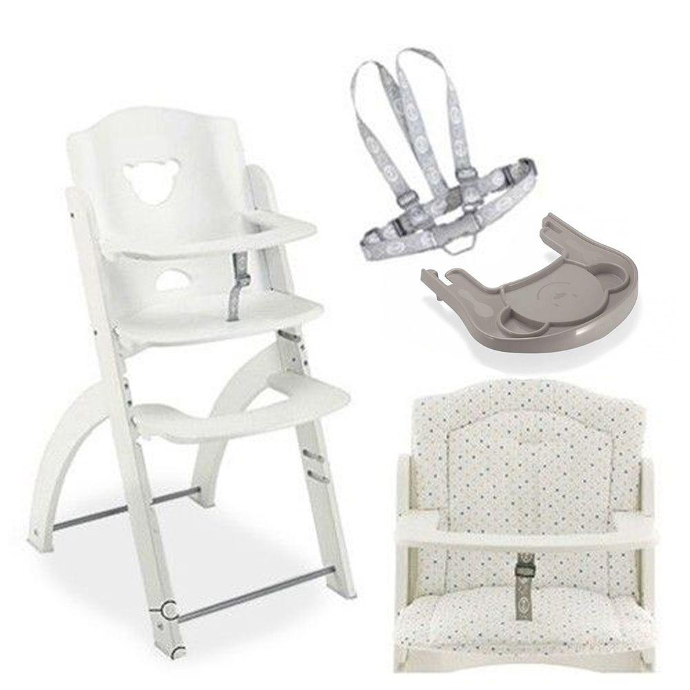 義大利 Pali - Pappy Re 熊寶寶成長餐椅組-白色-含點點坐墊、灰色小熊餐盤、安全帶