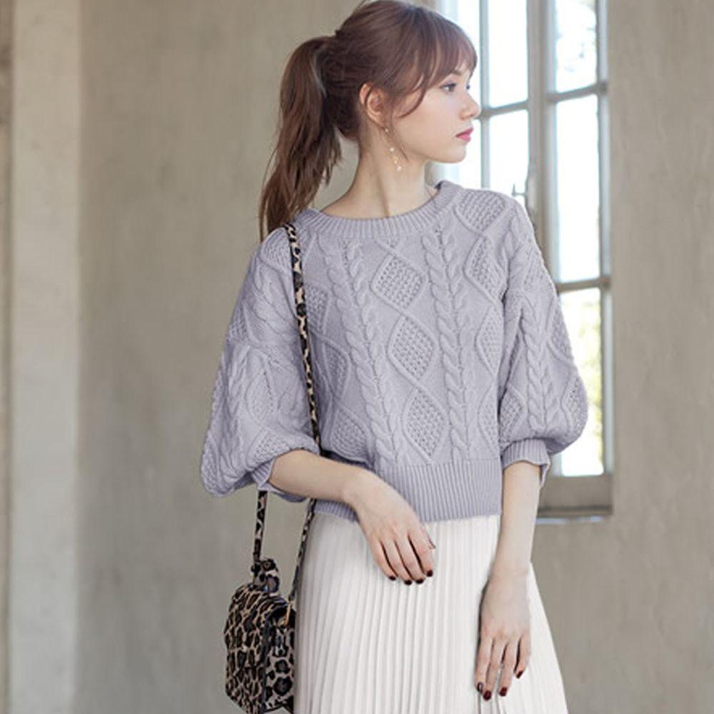 日本 GRL - 編織紋美腰綁帶寬版七分袖針織上衣-灰藍