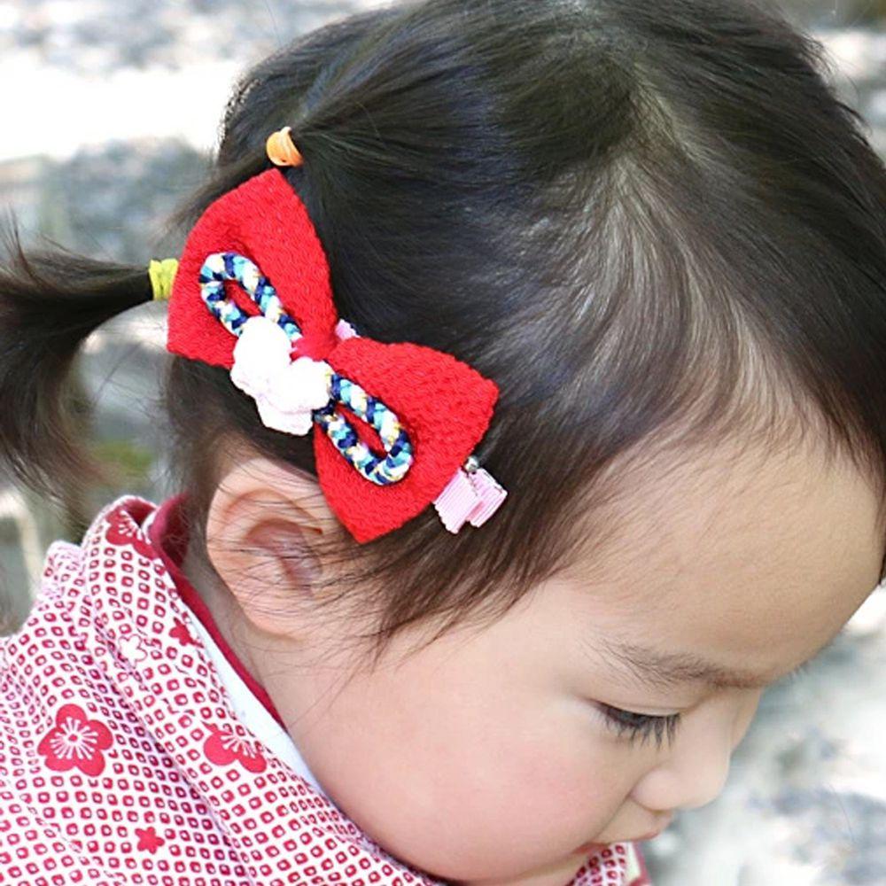 日本服飾代購 - 日本製傳統蝴蝶結髮夾-花朵-紅 (FREE)