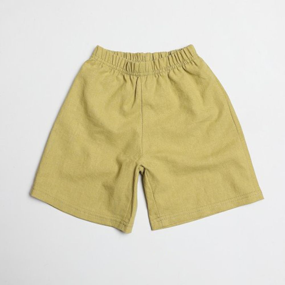 韓國製 - 棉麻寬版7分褲-橄欖綠