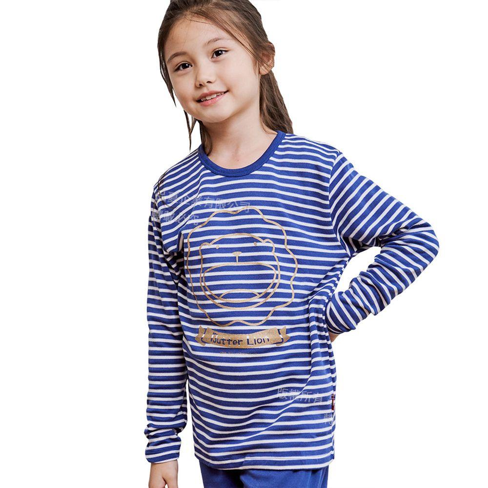 GIAT - 奶油獅保暖長袖上衣(圓領)-藍色條紋