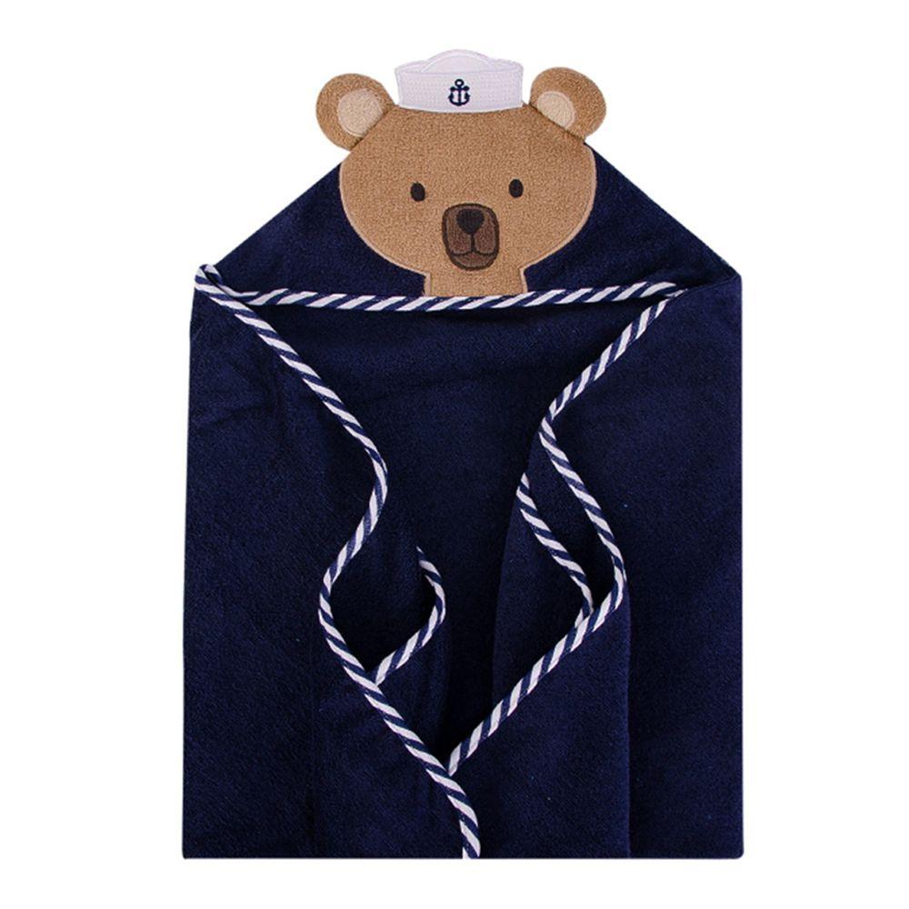 美國 Luvable Friends - 100% 純棉嬰幼兒動物造型連帽浴巾/包巾-水手熊寶寶
