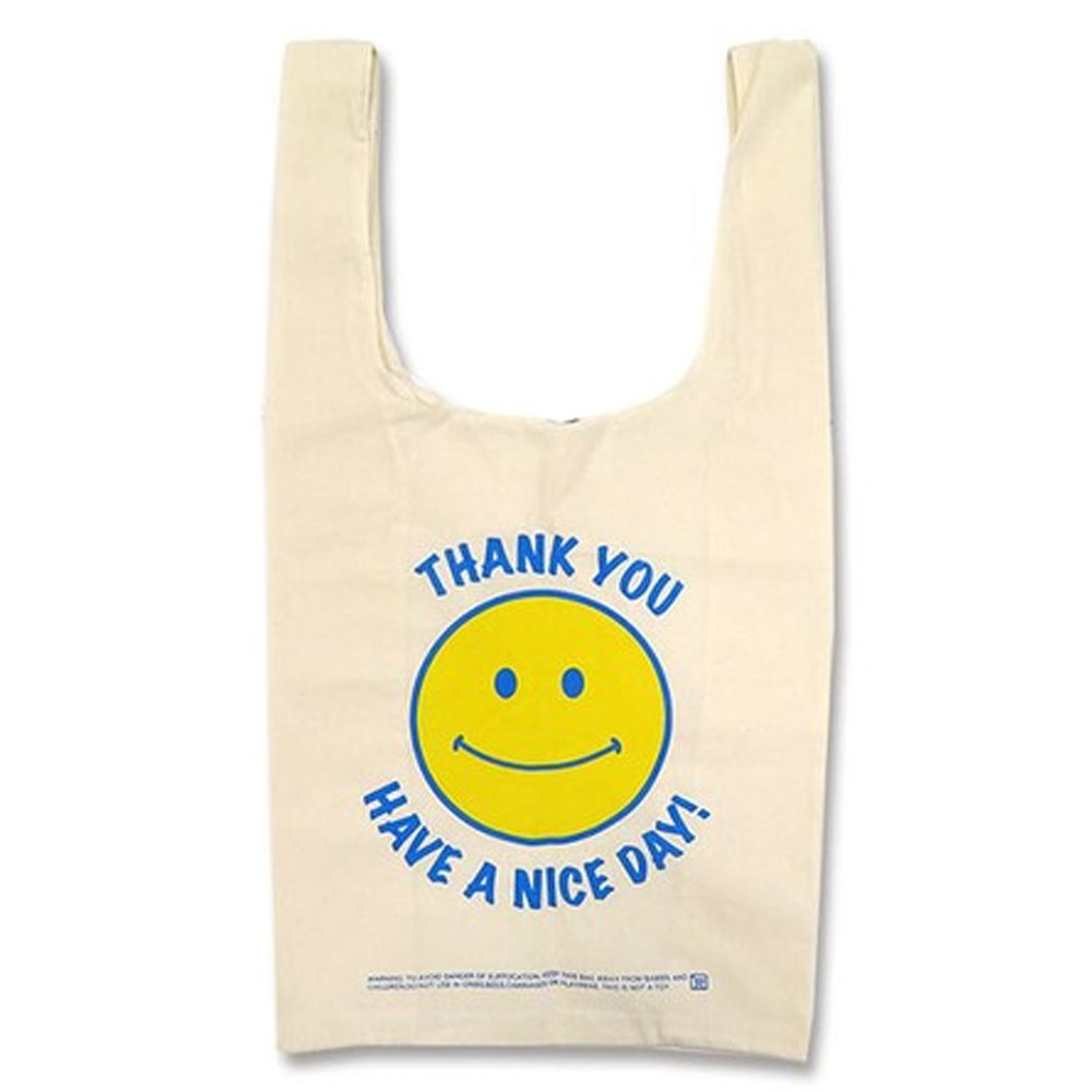 日本 OKUTANI - 折疊購物袋(純棉)-笑臉-米黃 (32x60x16cm)