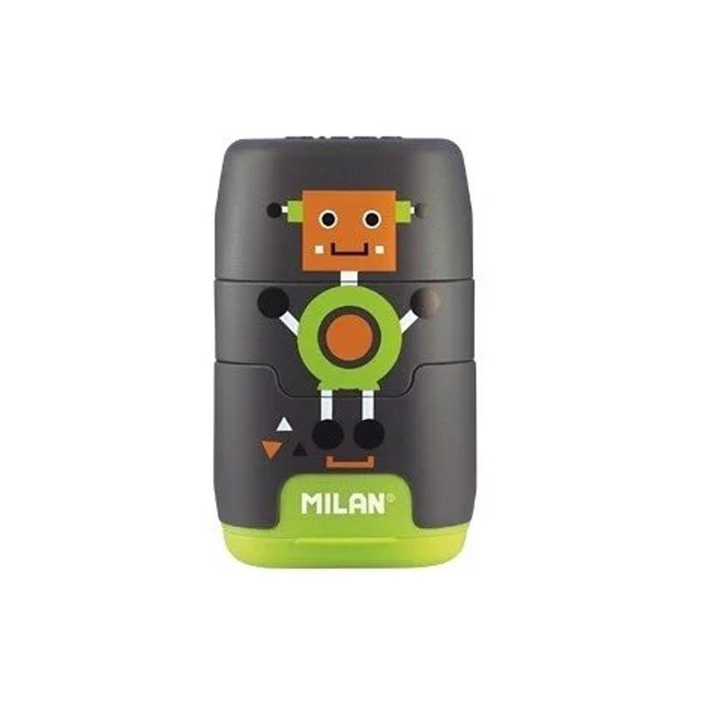 MILAN - COMPACT橡皮擦+削筆器_快樂機器人(灰)
