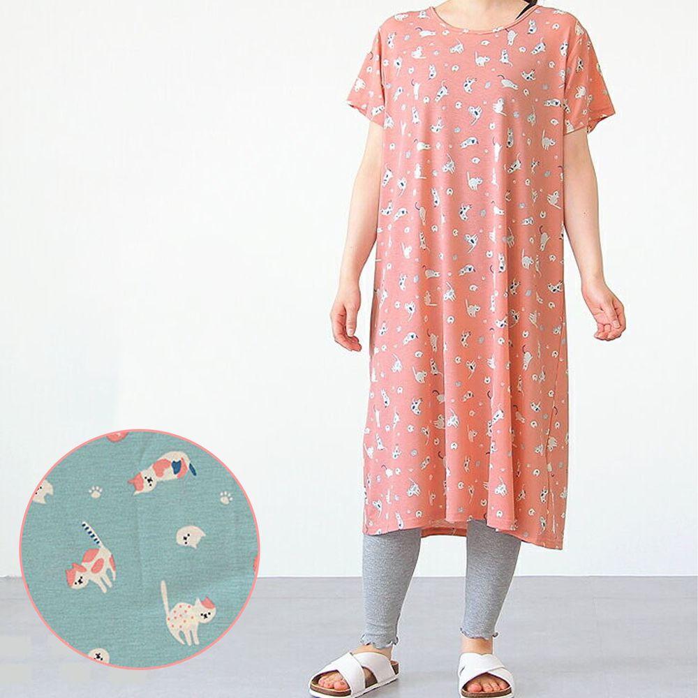 日本女裝代購 - DRY 涼爽快乾舒適家居短袖洋裝/睡衣-小花貓-薄荷藍 (M-L Free)
