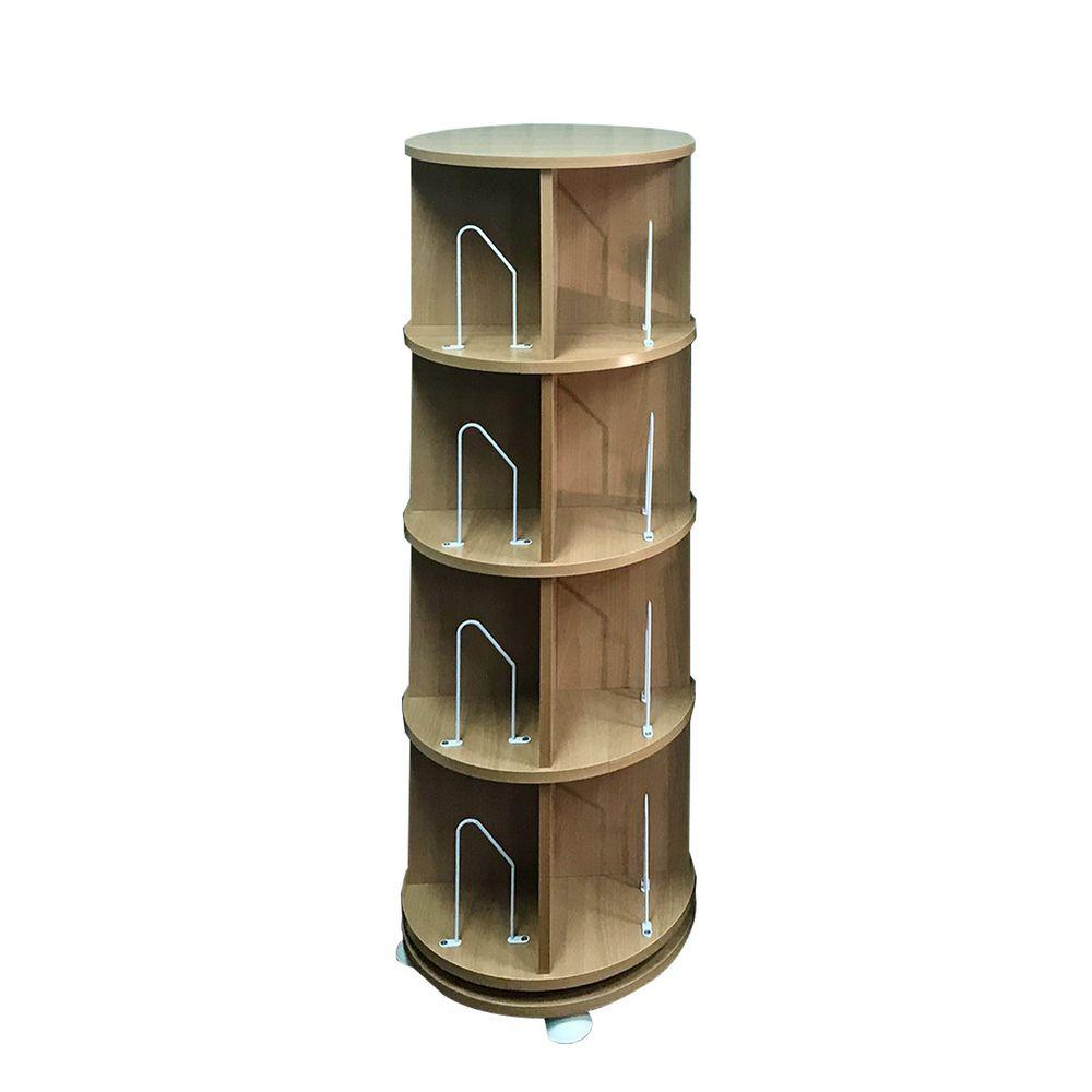 第一博士 - 360° 旋轉書櫃-四層式(高度137cm)-淺木紋-支架16入+水平儀4入