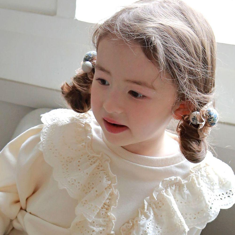 韓國 PuellaFLO - 蕾絲碎花髮圈/髮束2入組-藍花