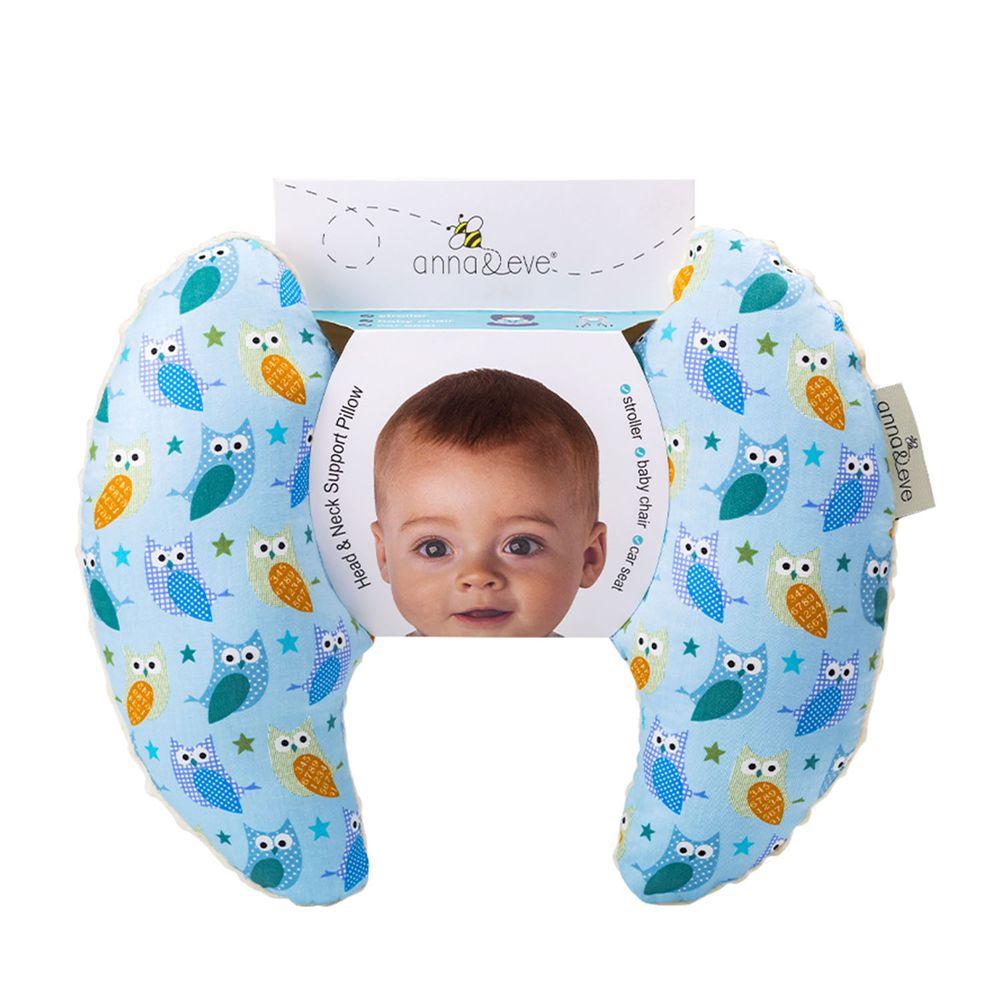 Anna&Eve - 美國嬰幼兒頭頸支撐保護枕-藍色貓頭鷹