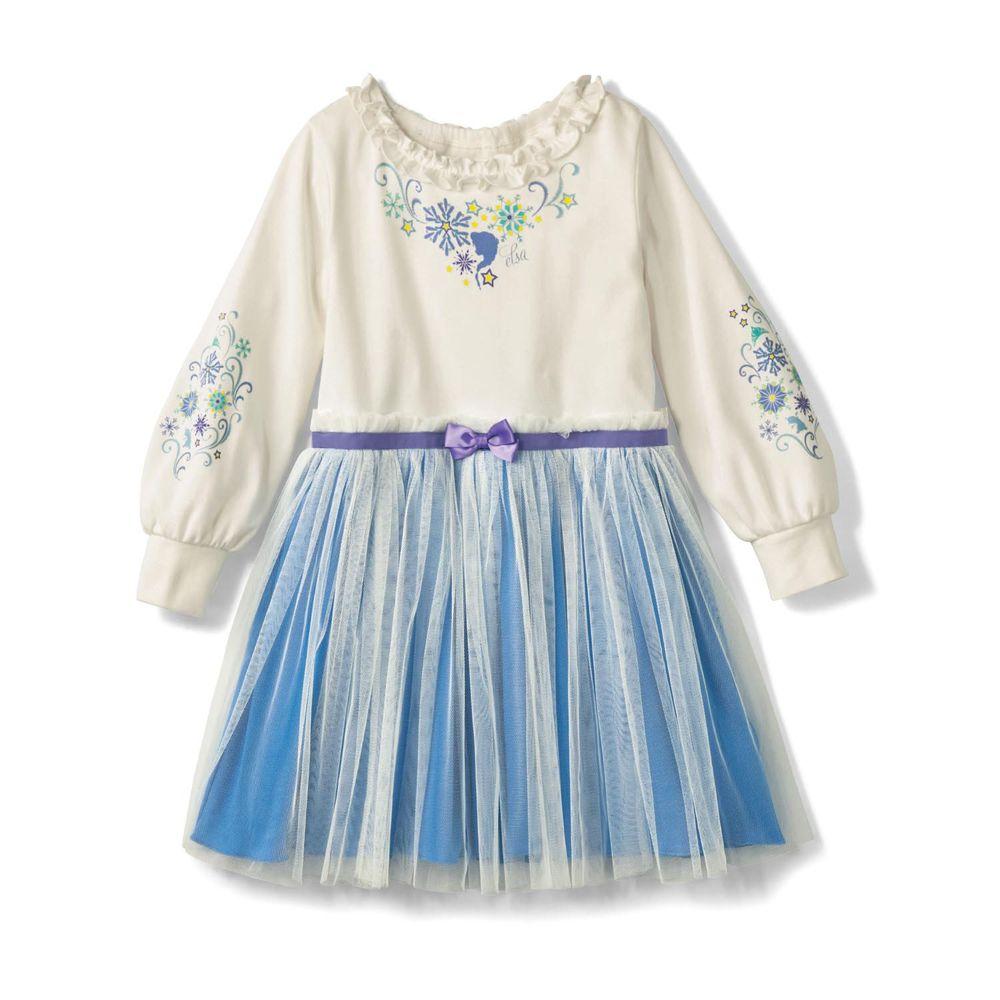 日本千趣會 - 迪士尼浪漫紗裙長袖洋裝-艾莎-藍白