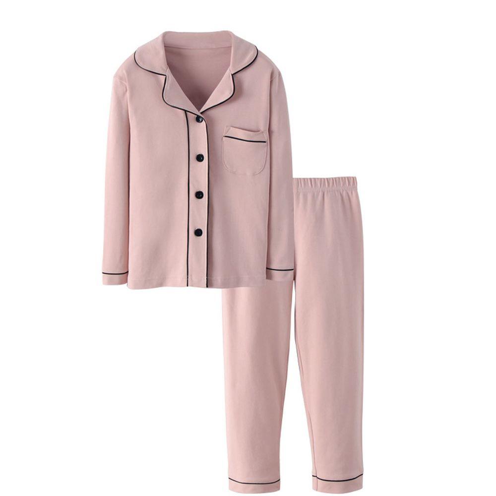 純棉排扣睡衣套裝-粉色