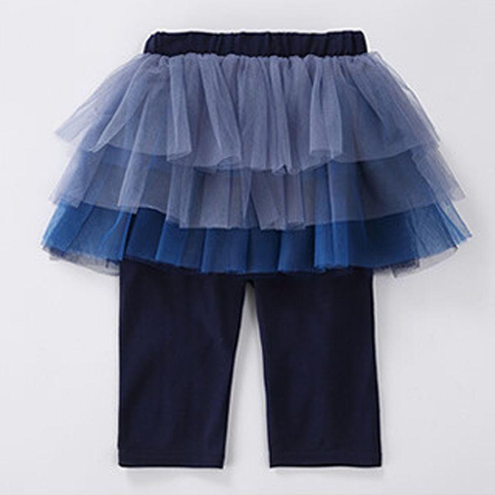 日本 Maison de Ravi - 漸層薄紗七分內搭褲裙-海軍藍
