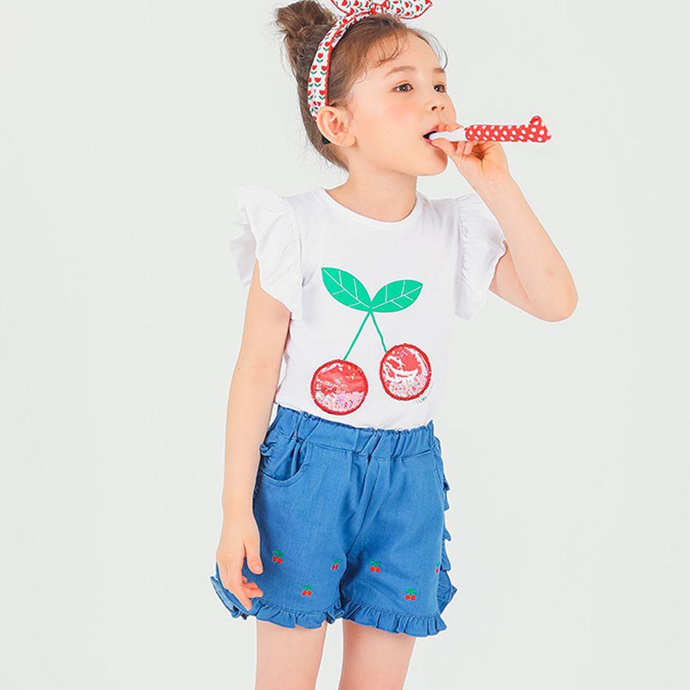 韓國 OZKIZ - 亮片櫻桃荷葉袖上衣