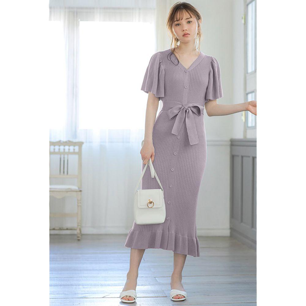 日本 GRL - 浪漫大荷葉袖針織修身洋裝-薰衣草