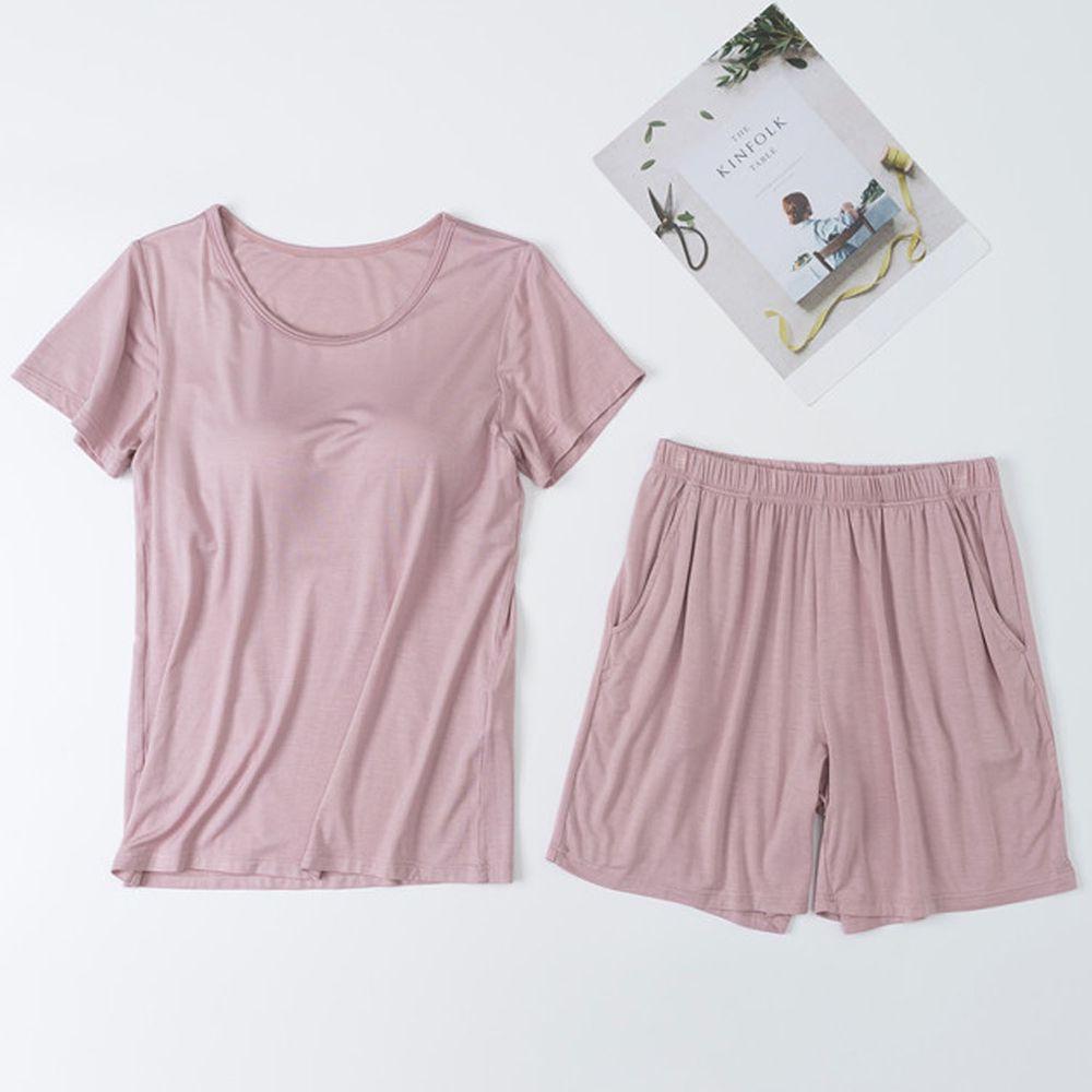 莫代爾柔軟涼感Bra T家居服-短褲套裝-粉色