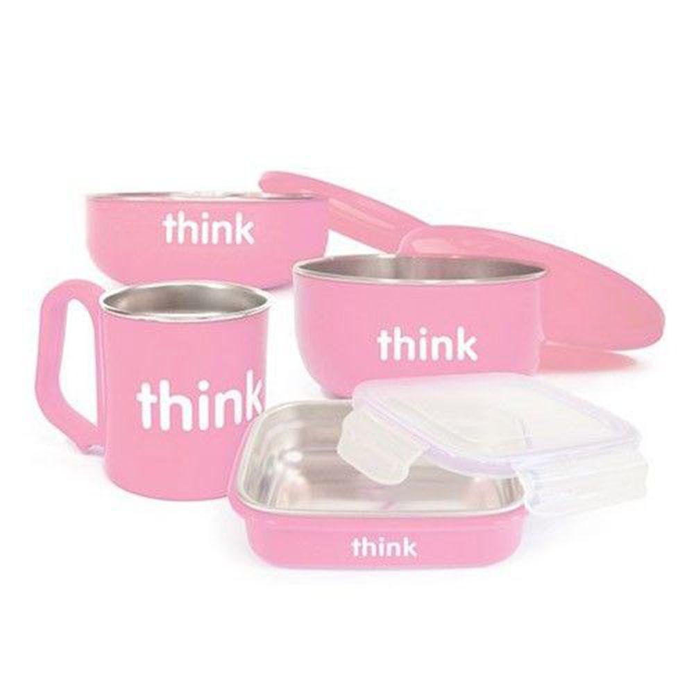 美國 Thinkbaby - 不鏽鋼餐具組-嫩粉紅
