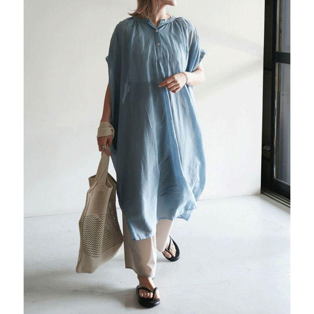 日本 Bou Jeloud - 純棉刺繡設計短袖洋裝-藍