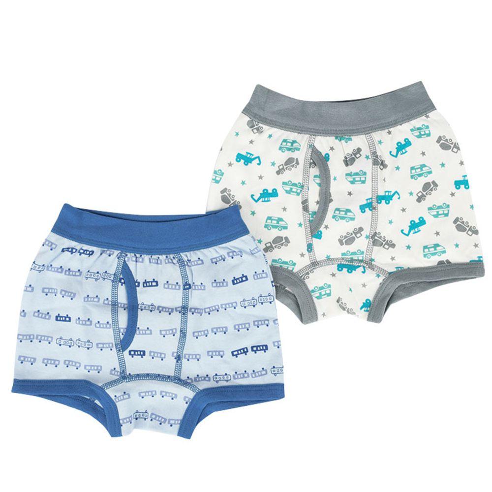 akachan honpo - 四角褲2件組-砂石車 電車-淺藍色