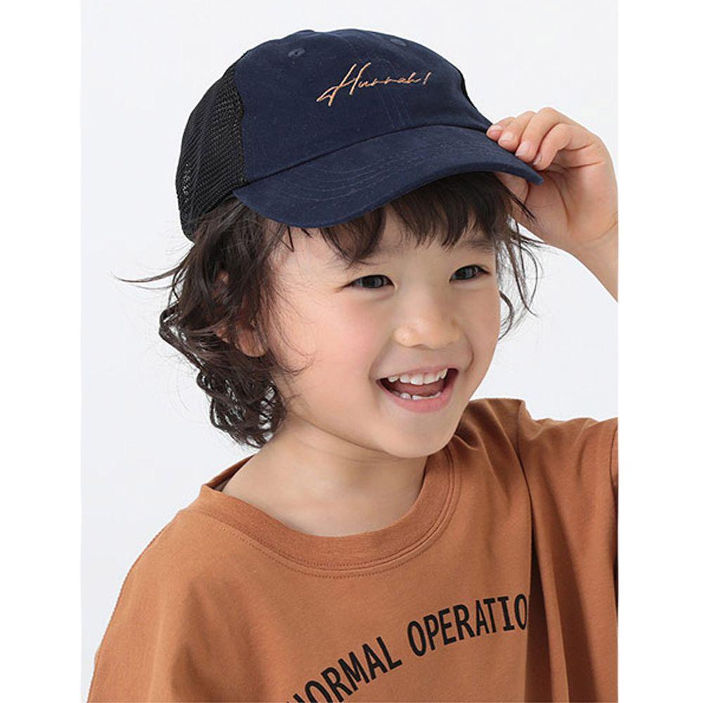 日本 devirock - 復古刺繡透氣兒童鴨舌帽-深藍