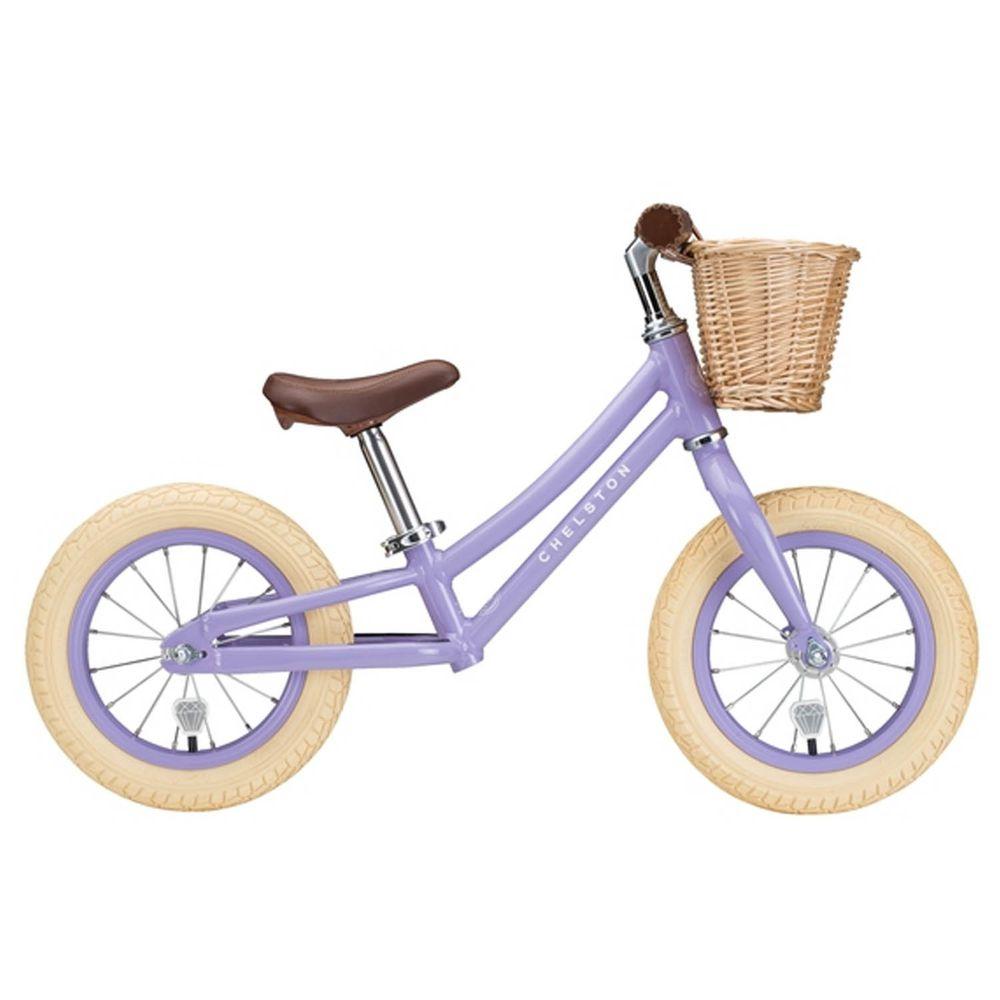 Chelston bikes - Mini Dutch 復古滑步車-薰衣草紫-滑步車 x 1 , 手工編織竹籃 x 1 , 麻料內襯  x 1 , 3 歲以下專用ABS氣嘴蓋 x 1