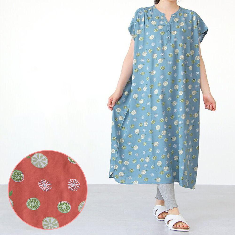 日本女裝代購 - COOL 涼感柔軟舒適家居短袖洋裝/睡衣-檸檬-橘 (M-L Free)