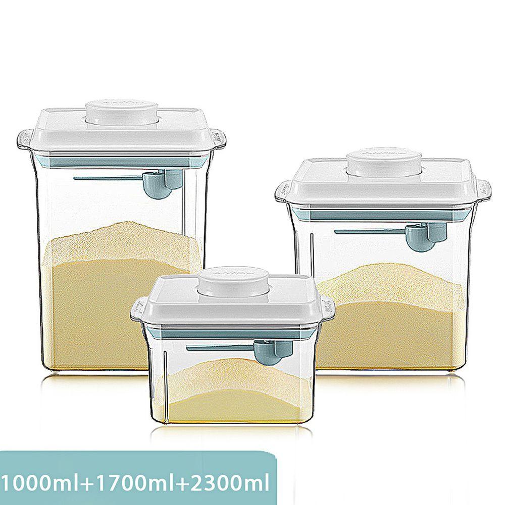 ANKOU LIFE安酷生活 - 一鍵搞定防滑刮平奶粉罐 透明款三件組 (附贈勺子+掛具+三角刮平片 )/加贈 320ml鎖扣式一鍵搞密封罐*1-1000+1700+ 2300ml