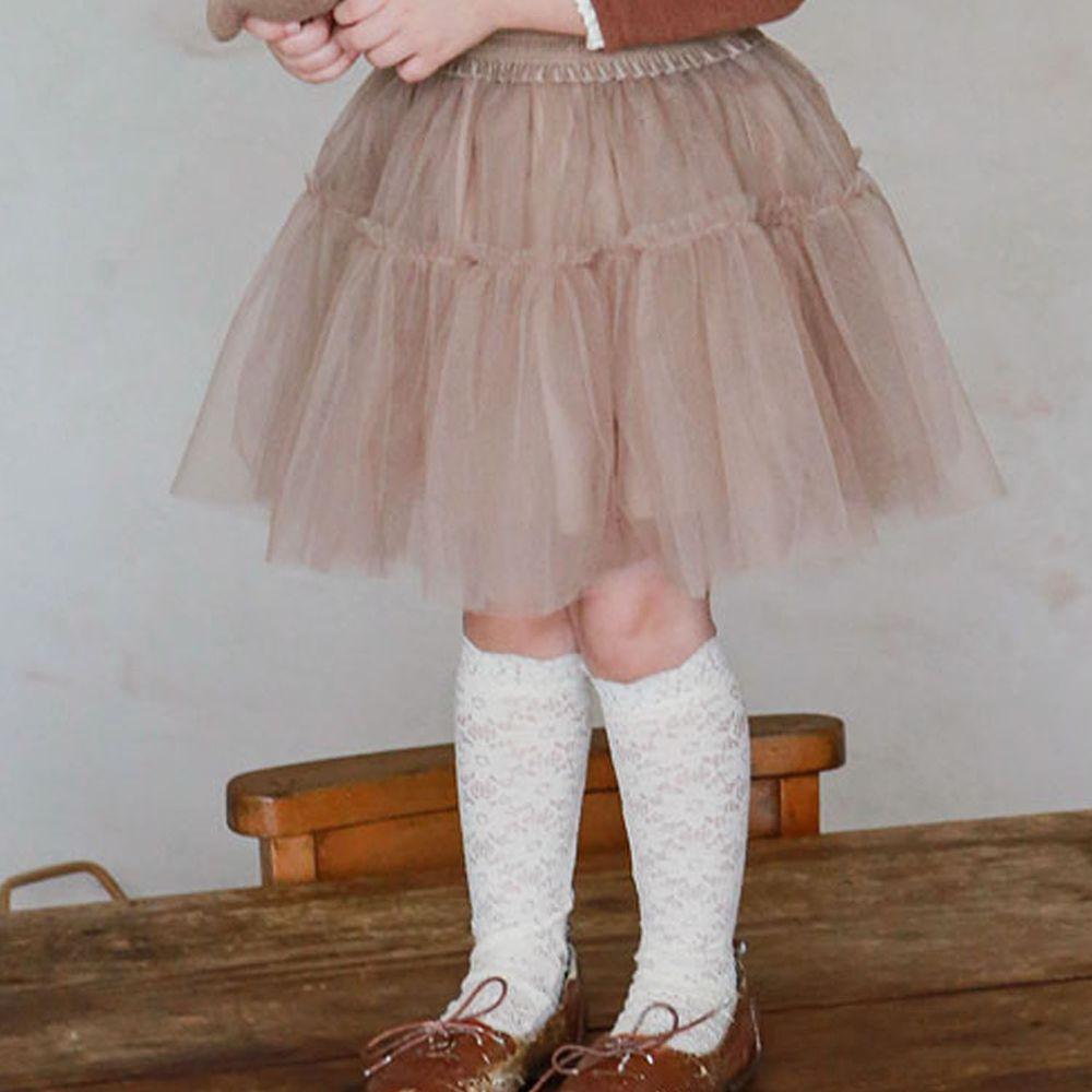 韓國 Puellaflo - 軟紗鬆緊帶紗裙-棕