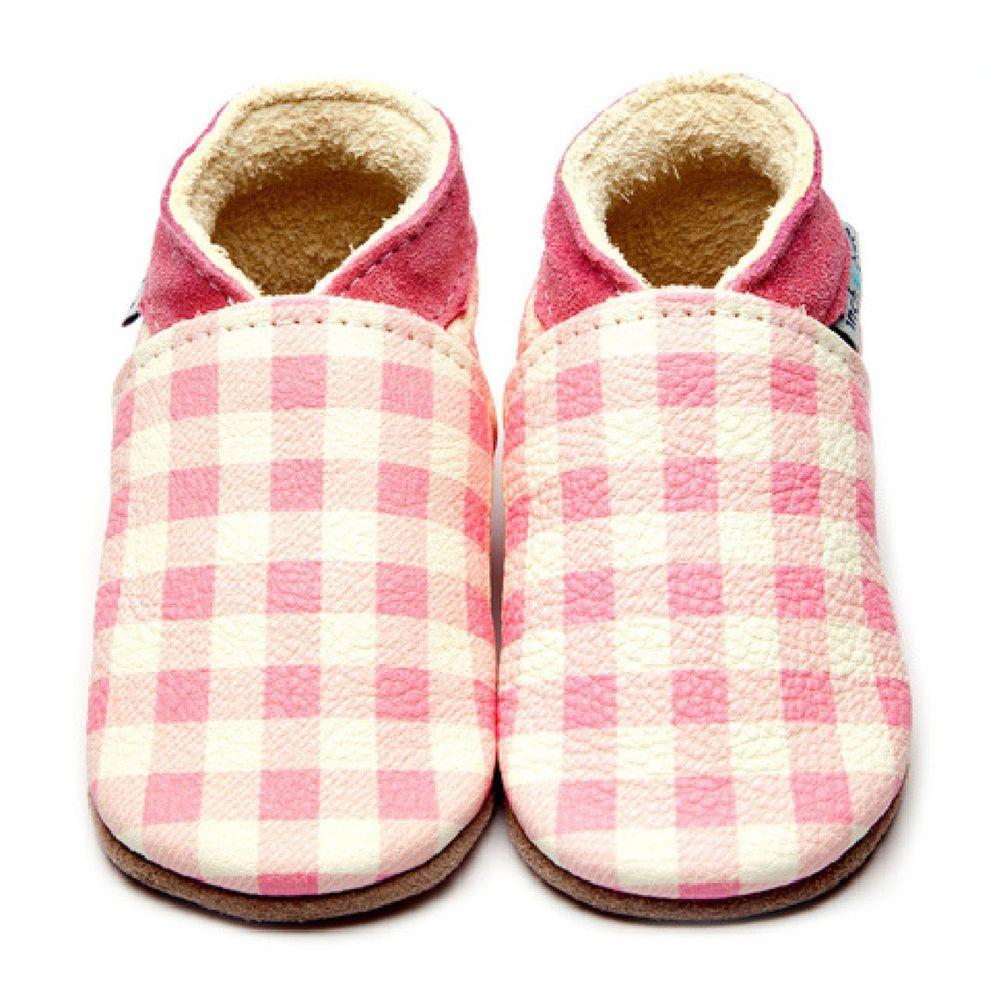 英國Inch Blue - 寶寶學步鞋-粉紅格格 (12-18M膠底)
