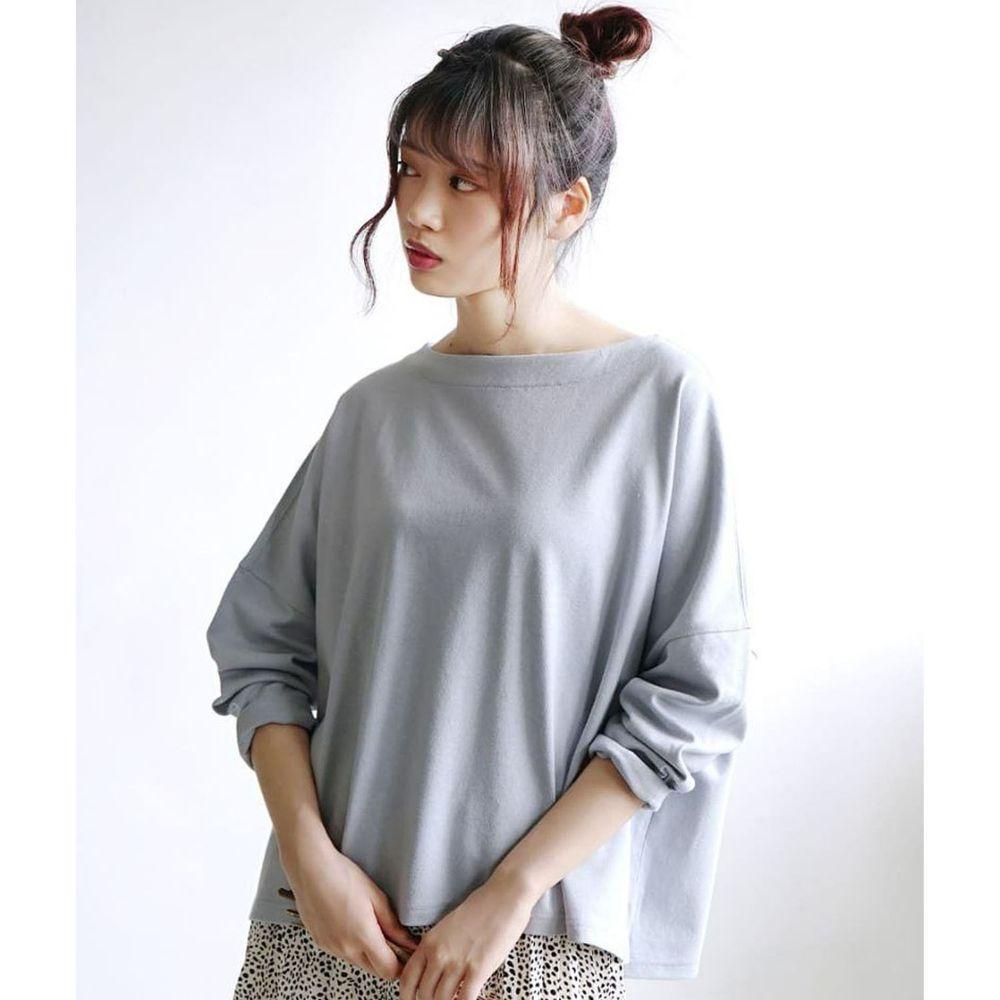 日本 zootie - [撥水/撥油加工] 抗油污耐洗純棉長袖上衣-灰藍
