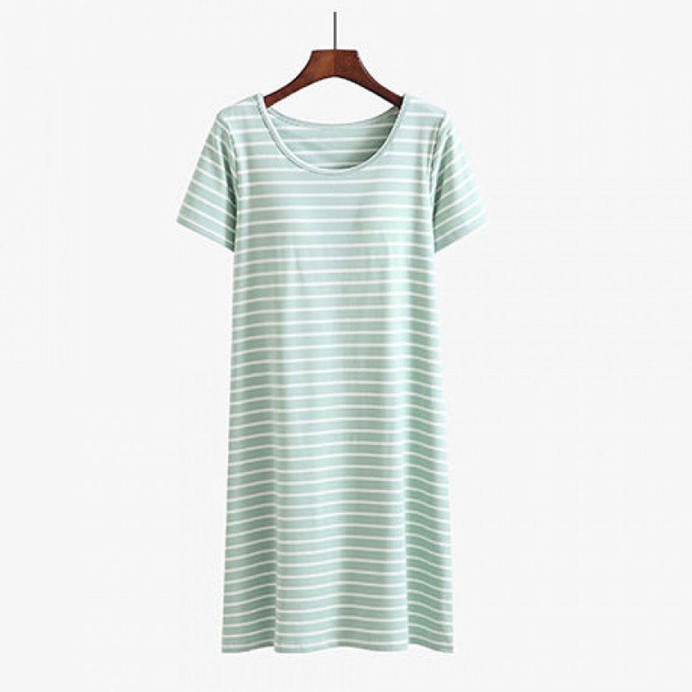 莫代爾柔軟涼感Bra T條紋睡裙-綠白條紋