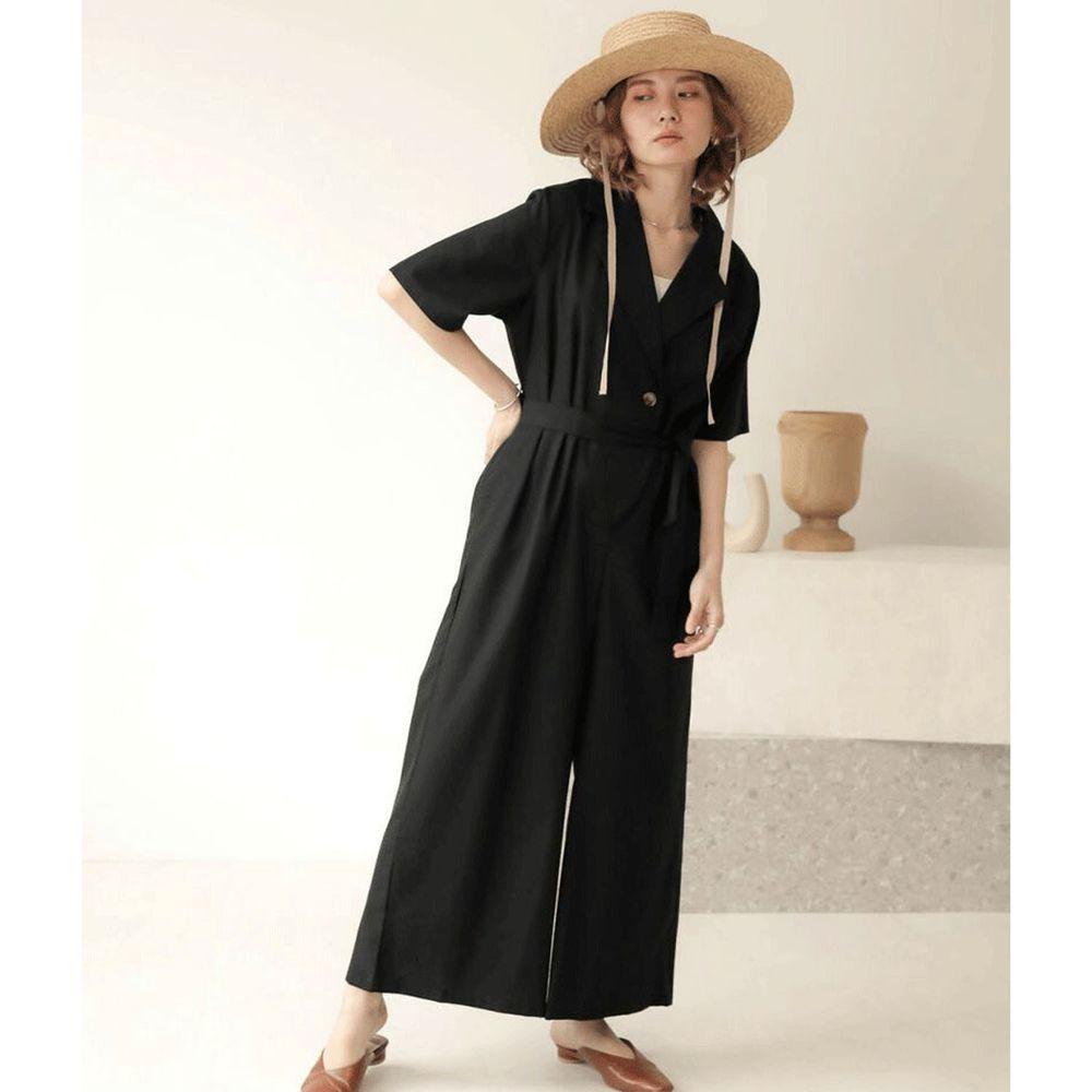 日本 Bou Jeloud - 率性工裝五分袖連身褲-黑