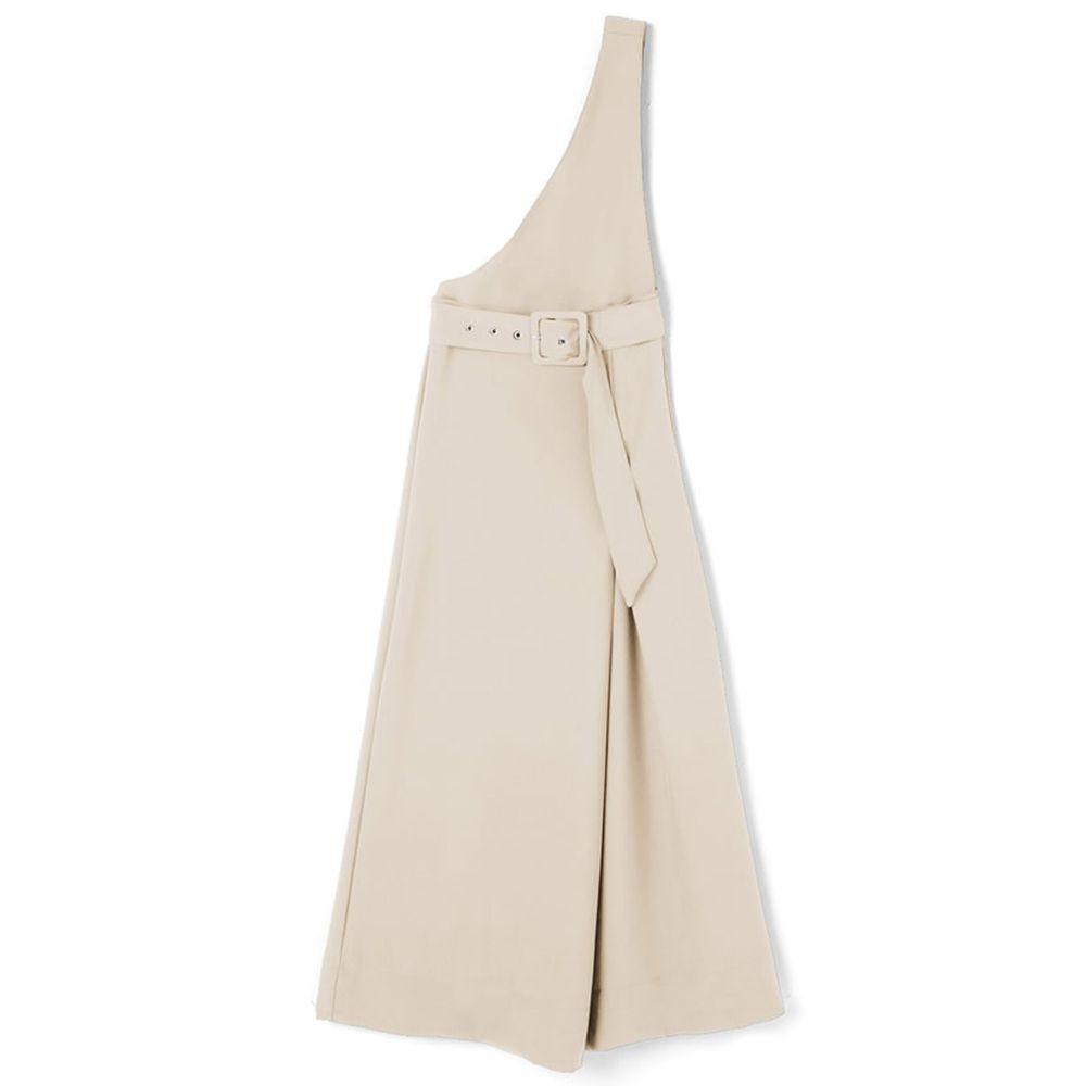 日本 GRL - 2way設計感單邊斜肩吊帶裙/長裙-象牙米