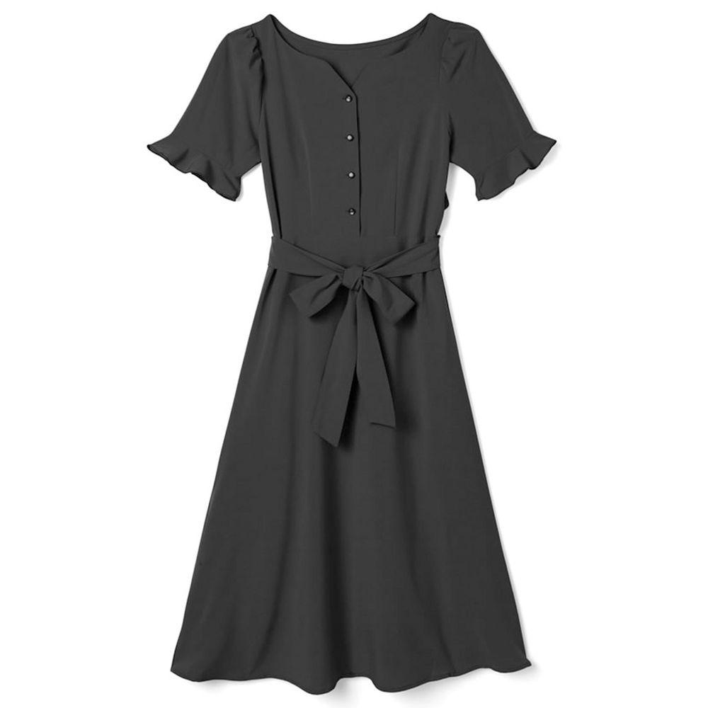 日本 GRL - 美背露腰蝴蝶結綁帶短袖洋裝-時尚黑